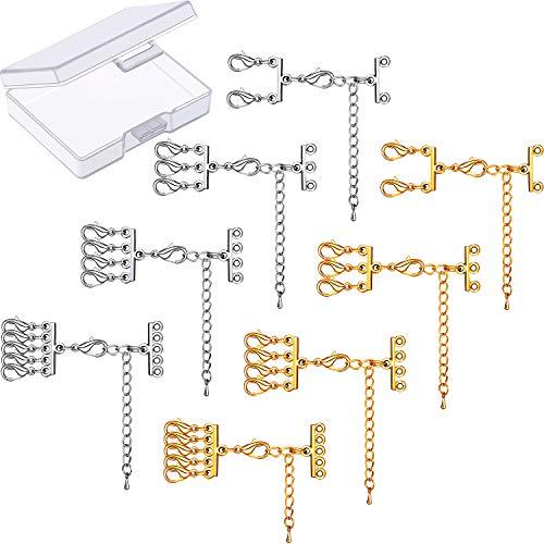 8 Pieces Multi Strand Slide Clasp Lock Necklace